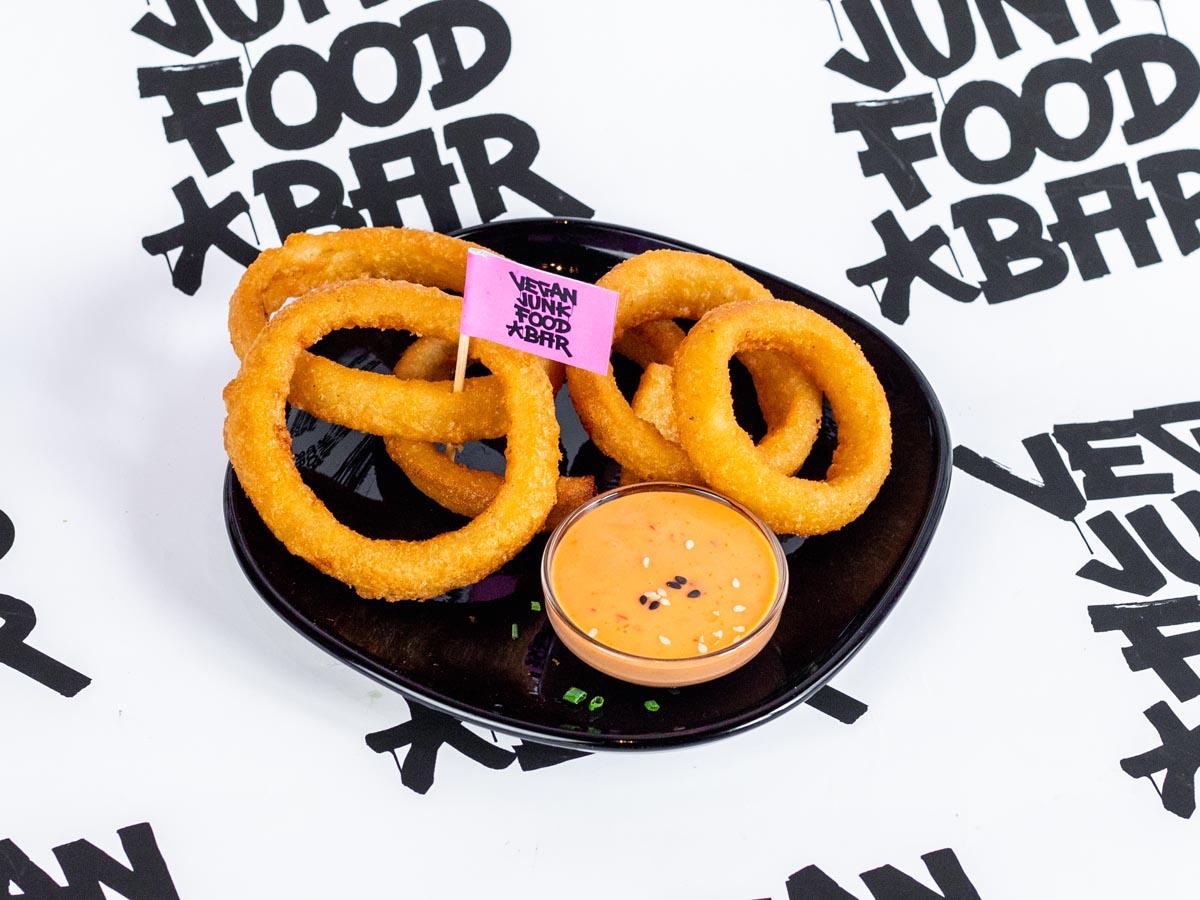 Vegan Junk Food Bar Menu Onion Rings